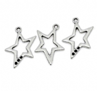 10 x Antique Silver Funky Star Charm Pendants